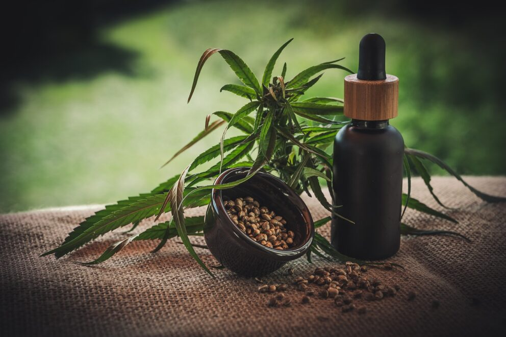 bottle of CBD oil for enlarged prostate and other issues