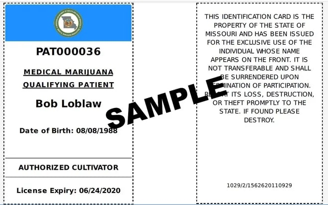 Missouri Medical Marijuana Card Sample